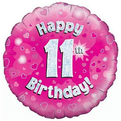 11th Birthday Girl Balloon