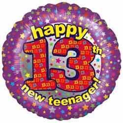 13th Birthday Teenager Balloon