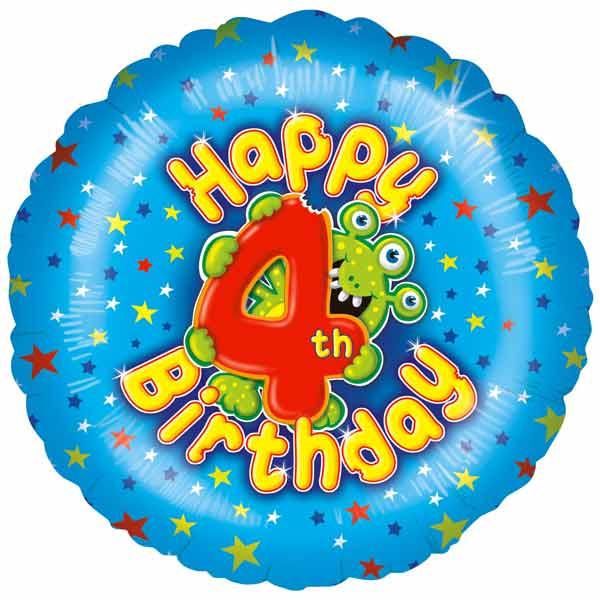 4th Birthday Boy Balloon Small Image