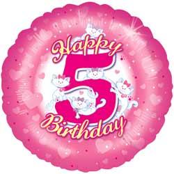 5th Birthday Girl Balloon