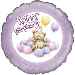 Birthday Bear Lilac Balloon