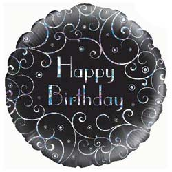 Birthday Black Swirls Foil Balloon