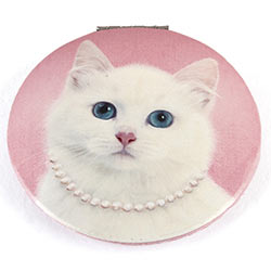 Cat with Pearl Necklace Clam Mirror
