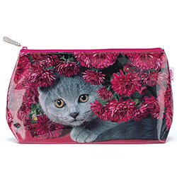 Cat With Flowers Wash Bag