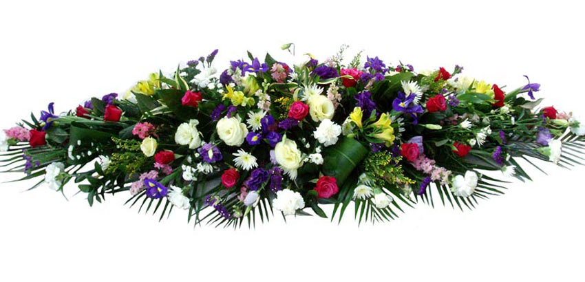 Funeral Flowers Multi Coloured Funeral Coffin Spray