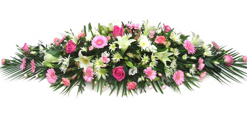 Funeral Flowers Funeral Coffin Spray - Pink & Cream