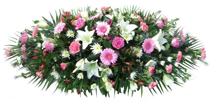 Funeral Flowers Funeral Coffin Spray - Pink & White