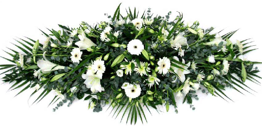 Funeral Flowers Funeral Coffin Spray - Pure White