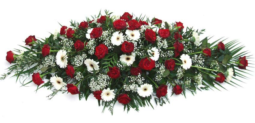 Funeral Flowers Funeral Coffin Spray - Red & White