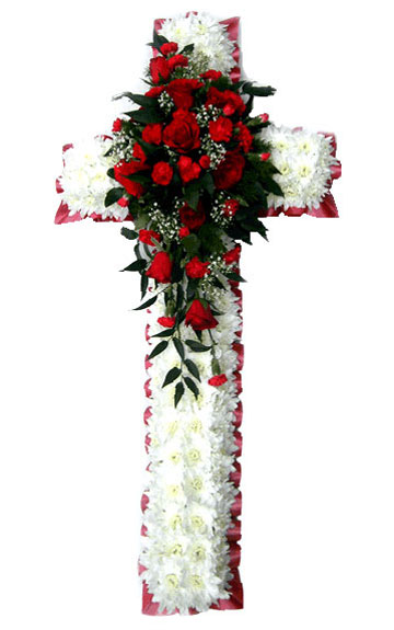 Funeral Flowers Funeral Cross Red Roses