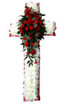 Funeral Cross Red Roses Small Image