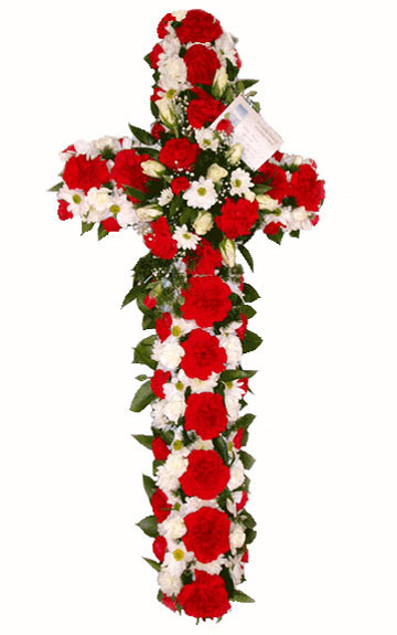 Funeral Flowers Funeral Cross Red & White