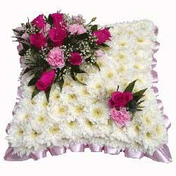 Funeral cushion tributesflowerswreaths pink white funeral cushion mightylinksfo