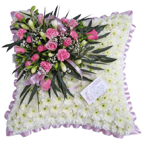 Funeral Flowers Mauve & White Funeral Cushion