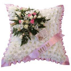 Funeral cushion tributesflowerswreaths pink sash funeral cushion mightylinksfo