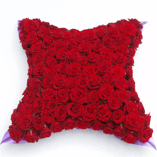 Funeral Flowers Red Rose Funeral Cushion