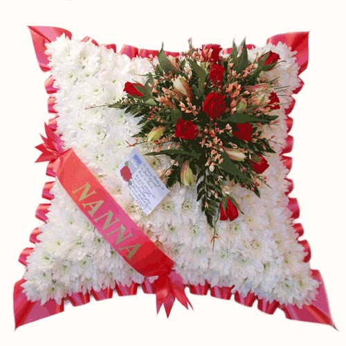Funeral Flowers Red Sash Funeral Cushion
