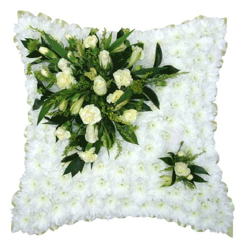 Funeral Flowers White & Cream Funeral Cushion