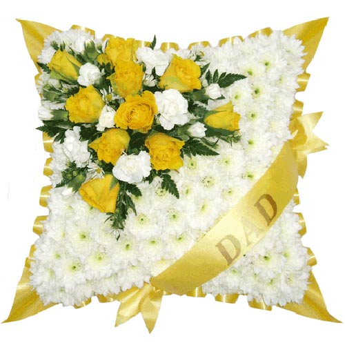 Funeral Flowers Yellow Sash Funeral Cushion