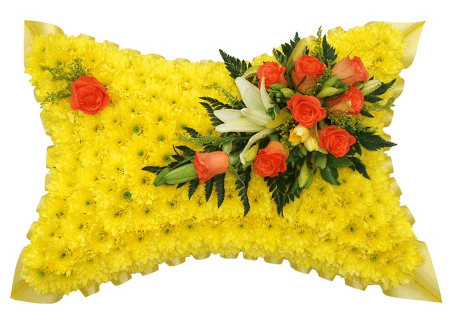 Funeral Flowers Funeral Pillow Yellow Base