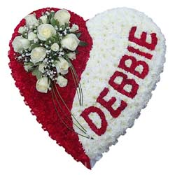 Funeral Heart Red White Name