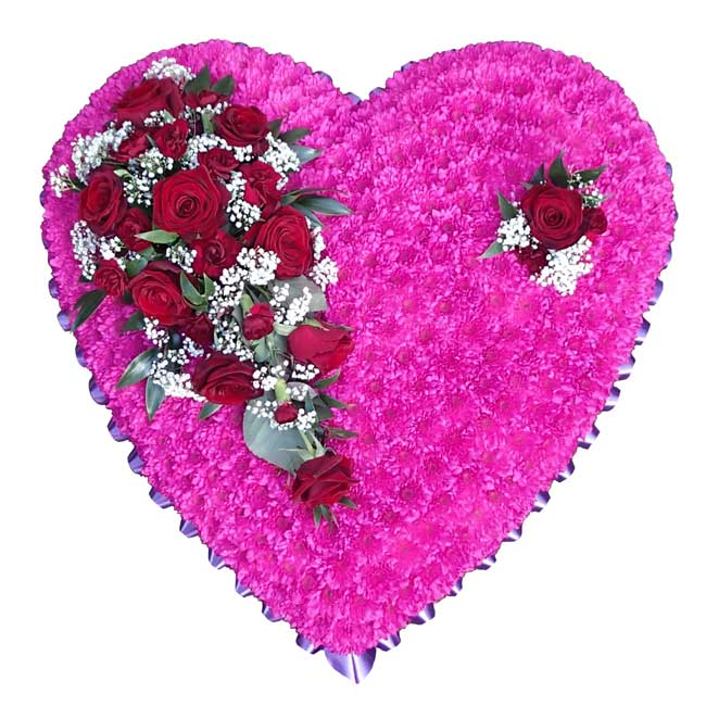 Funeral Flowers Funeral Heart Cerise Pink