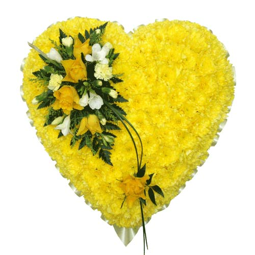 Funeral Flowers Yellow Funeral Heart Tribute