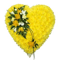 Yellow Funeral Heart Tribute