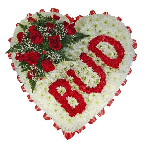 Funeral Flowers Funeral Heart - Red Letters