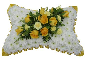 Funeral Pillow White & Yellow