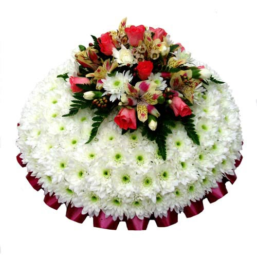 Funeral Flowers Funeral Posy Pad White & Apricot