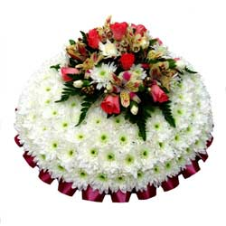Funeral Posy Pad White & Apricot