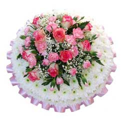 Funeral Posy Pad White & Pink