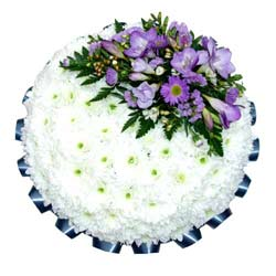 Funeral Posy Pad White & Purple