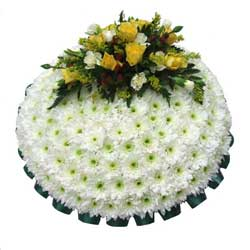 Funeral Posy Pad White & Yellow