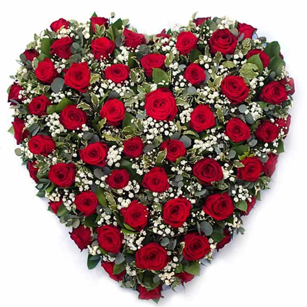 Funeral Flowers Red Rose Funeral Heart