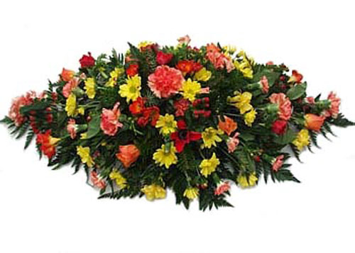 Funeral Flowers Orange & Yellow Elongated Spray