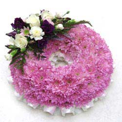 Funeral Wreath Ring Mauve Base