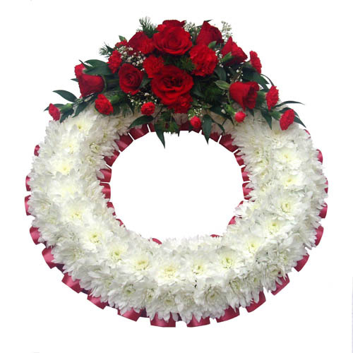 Funeral Flowers Funeral Wreath Ring Red & White