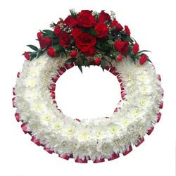 Funeral Wreath Ring Red & White