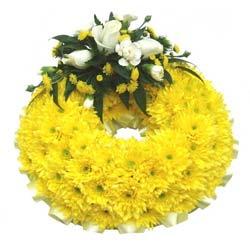 Funeral Wreath Ring Yellow Base