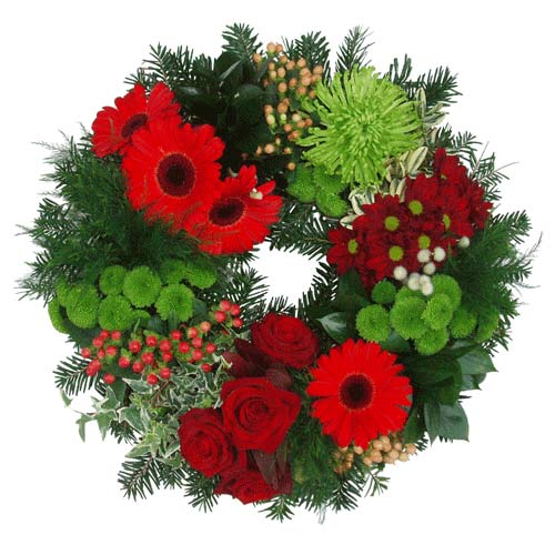 Funeral Flowers Open Funeral Ring Red & Green