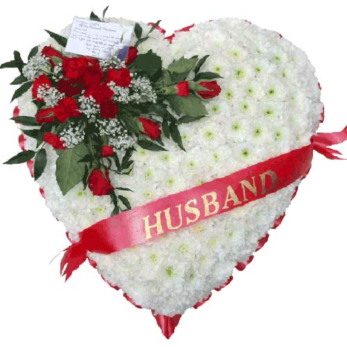 Funeral Flowers Funeral Heart Roses - Sash
