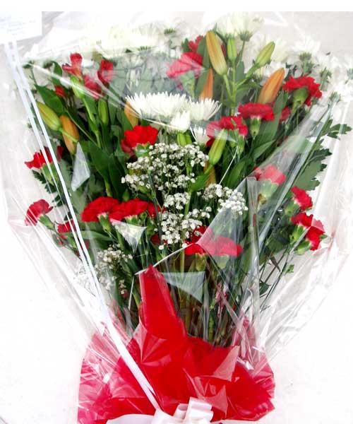 Funeral Flowers Red & White Funeral Bouquet