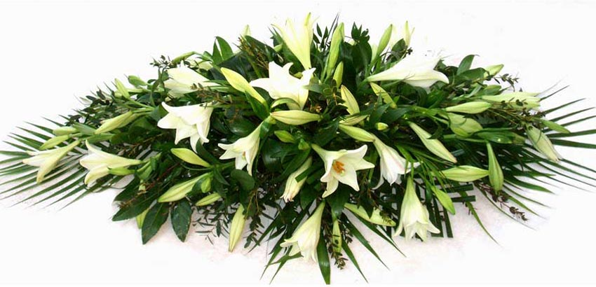 Funeral Flowers White Lily Coffin Spray - Longiflorum