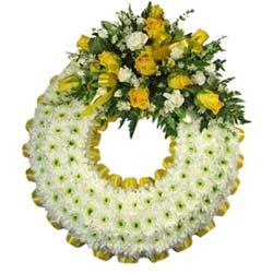 Yellow Funeral Wreath Ring