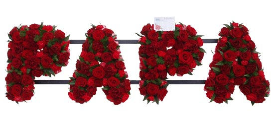 Funeral PAPA Tribute - Red Roses and Red Spray Carnations