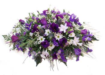 Purple And White Funeral Spray