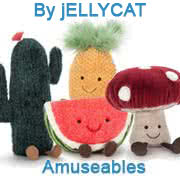 Jellycat's Amuseable Range includiong the Avocado, Cherry, Cactus, Watermelon, Strawberry, Pineapple and Cloud
