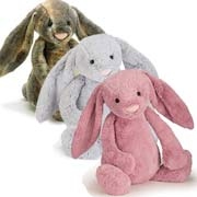 The full range of Bashful Bunnies including Beige, Cream and Cottontail Bunny